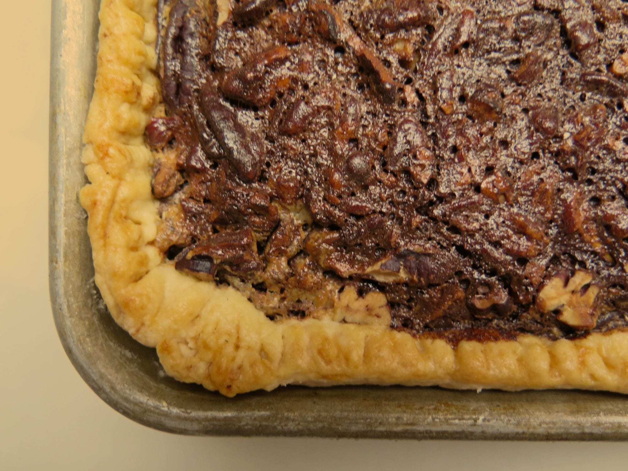pecan chocolate bourbon slab pie