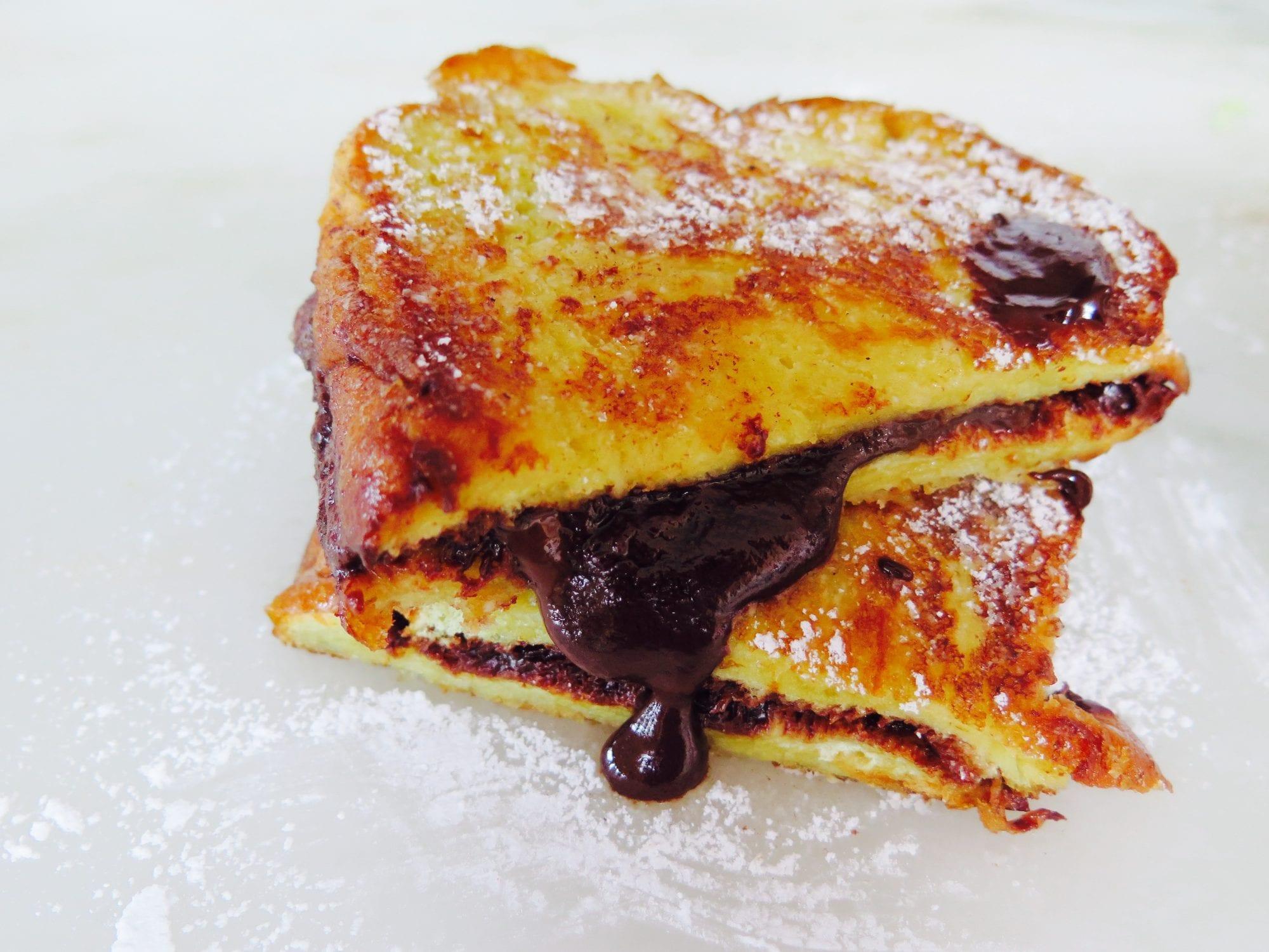 french toast sandwiches with dark chocolate ganache and sea salt