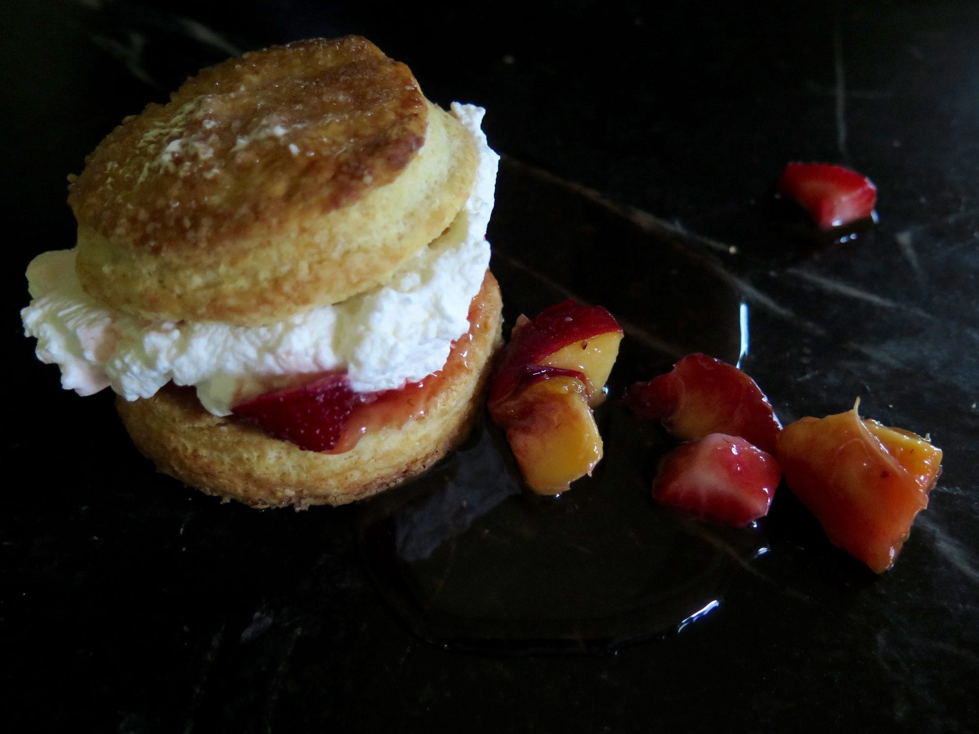 peach and strawberry shortcakes