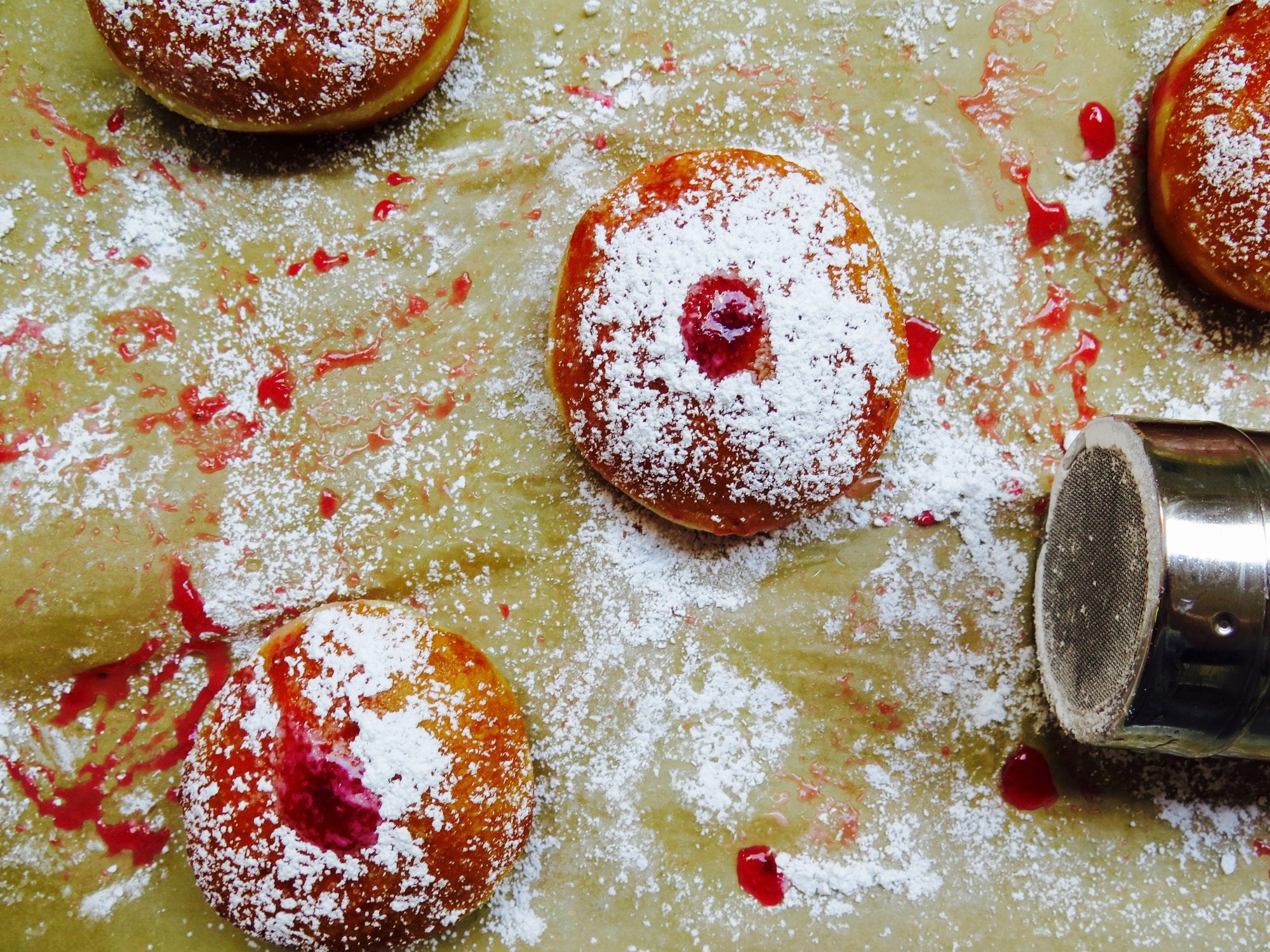 red currant jelly doughnuts - it's a messy job . . .