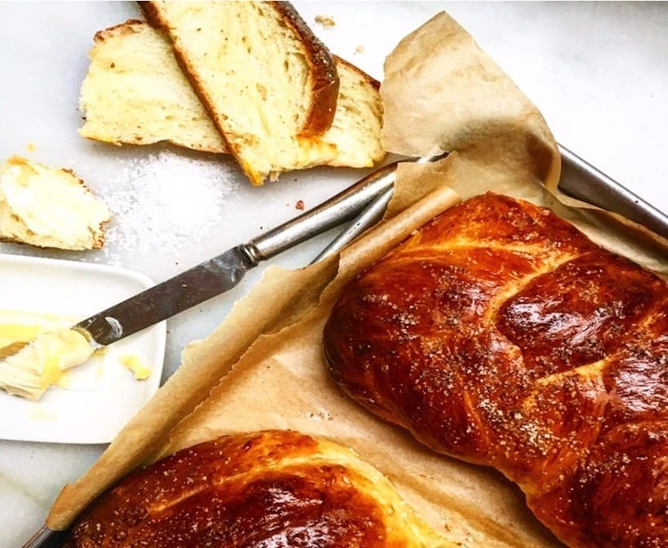 challah bread with salted butter . . .