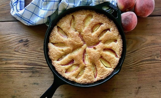 peach skillet cake made with sour cream - easy and delicious and pretty . . .