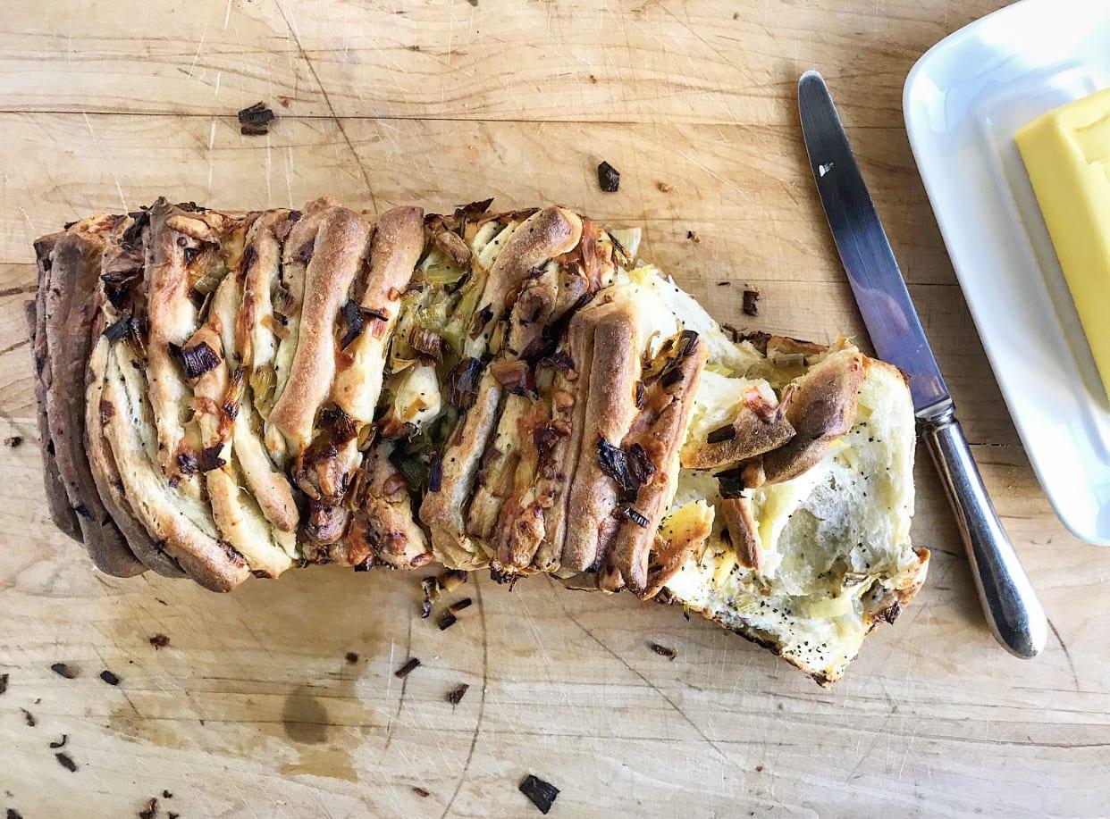 Cheesy Caramelized Leek Black Pepper Pull-Apart Bread | Jessie Sheehan Bakes