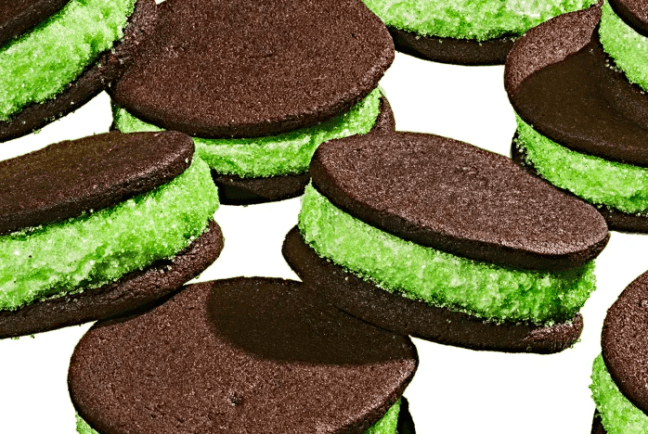 Super Stuffed Mint Chocolate Sandwich Cookies Recipe   Jessie Sheehan Bakes