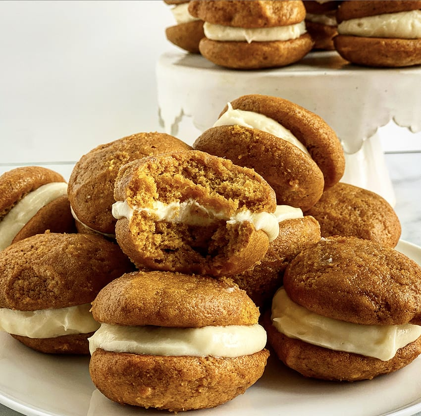 Pumpkin Whoopie Pies with Cinnamon Cream Cheese Filling Recipe | Jessie Sheehan Bakes